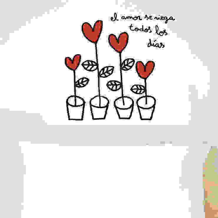 Vinilo decorativo Amor en macetas de Chispum Minimalista