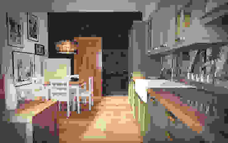 Mieszkanie w kamienicy - eklektyczny styl Eklektyczna kuchnia od Kameleon - Kreatywne Studio Projektowania Wnętrz Eklektyczny