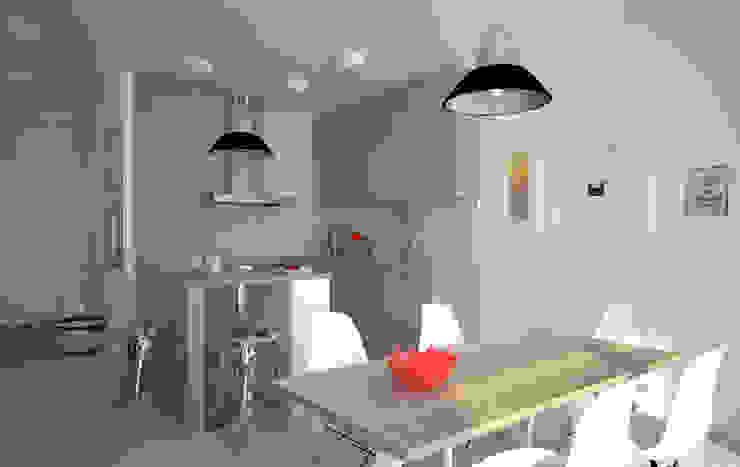 Mieszkanie w szarościach - Poznań Skandynawska kuchnia od Kameleon - Kreatywne Studio Projektowania Wnętrz Skandynawski