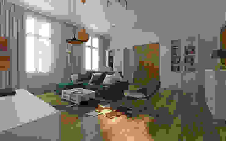 Mieszkanie w kamienicy - eklektyczny styl Eklektyczny salon od Kameleon - Kreatywne Studio Projektowania Wnętrz Eklektyczny