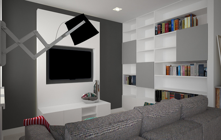 Mieszkanie w szarościach - Poznań Skandynawski salon od Kameleon - Kreatywne Studio Projektowania Wnętrz Skandynawski