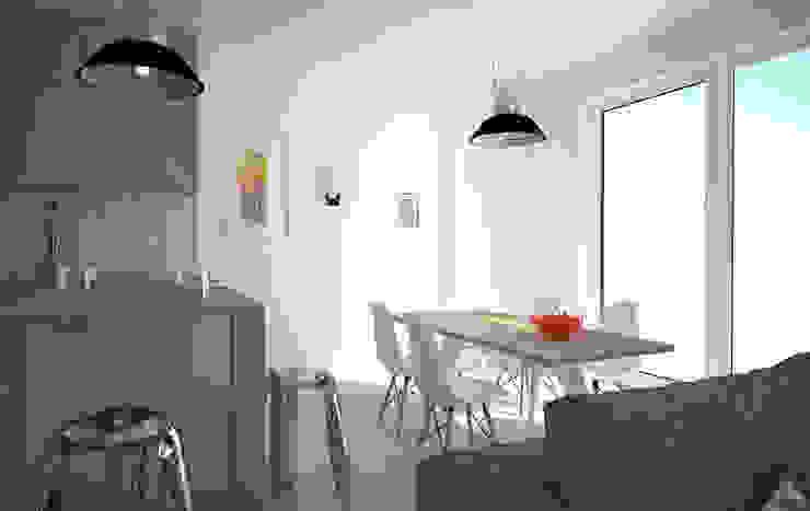 Mieszkanie w szarościach - Poznań Skandynawska jadalnia od Kameleon - Kreatywne Studio Projektowania Wnętrz Skandynawski