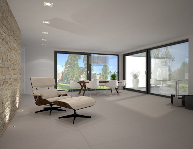 Dom w stylu bauhaus - Niemcy Minimalistyczny salon od Kameleon - Kreatywne Studio Projektowania Wnętrz Minimalistyczny