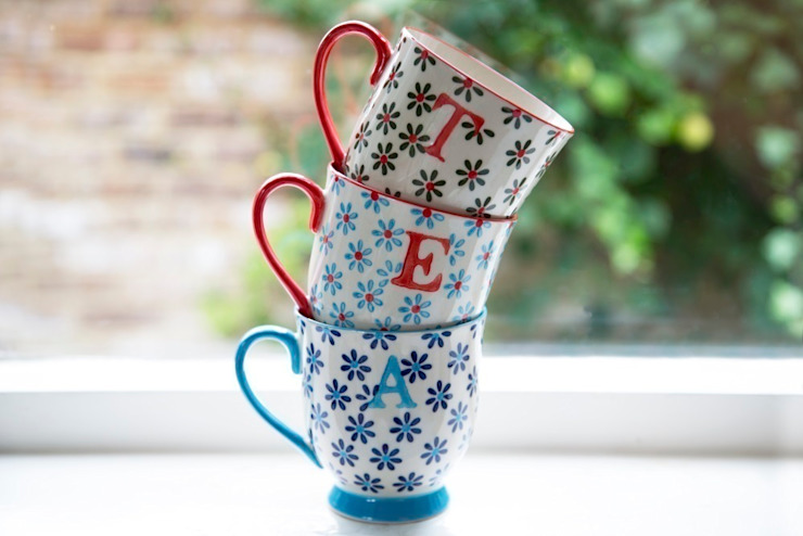 Bohemian Alphabet Letter Mugs: eclectic  by Sass & Belle, Eclectic