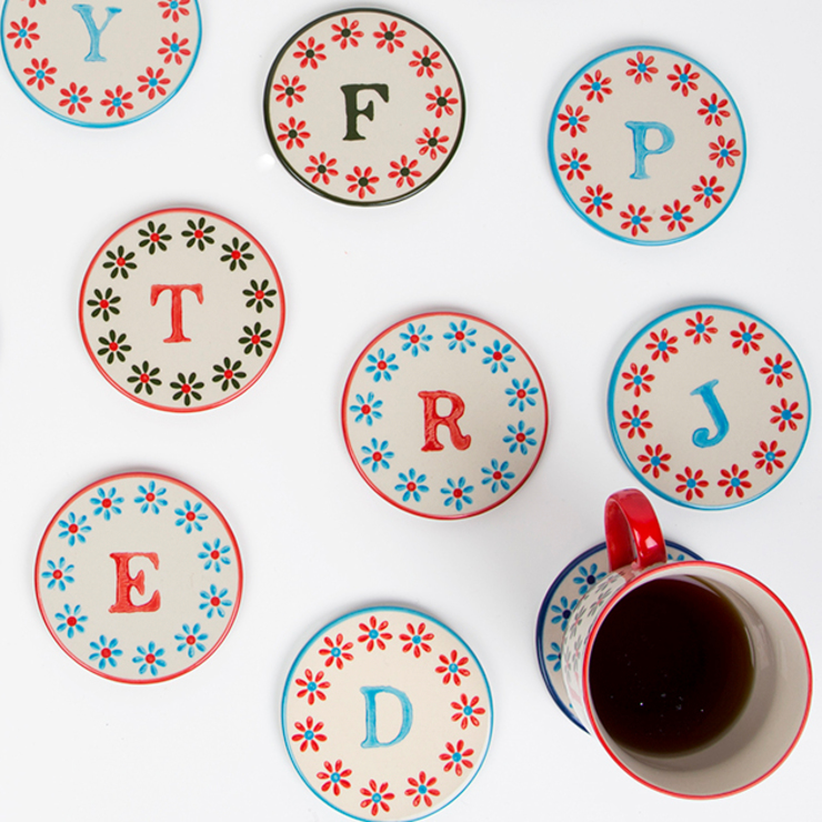 Bohemian Letter Coasters: eclectic  by Sass & Belle, Eclectic