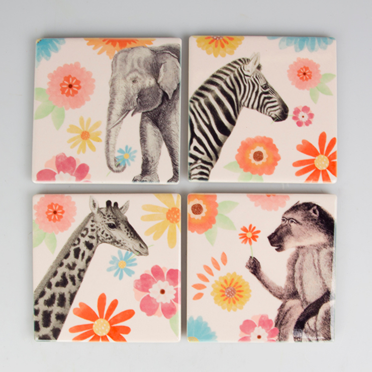 Safari Floral Coasters- sets of 4: modern  by Sass & Belle, Modern