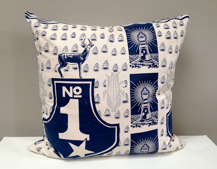 No 1 Cushion in Navy: colonial  by Porcupine Rocks Ltd, Colonial
