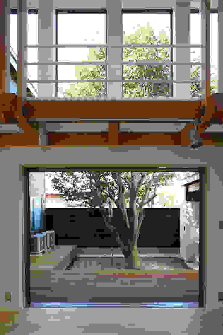 中庭の椿を臨むリビング モダンデザインの リビング の 白根博紀建築設計事務所 モダン