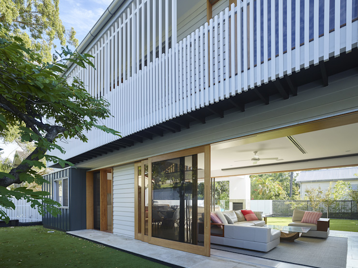 The Corner House Shaun Lockyer Architects 클래식스타일 발코니, 베란다 & 테라스