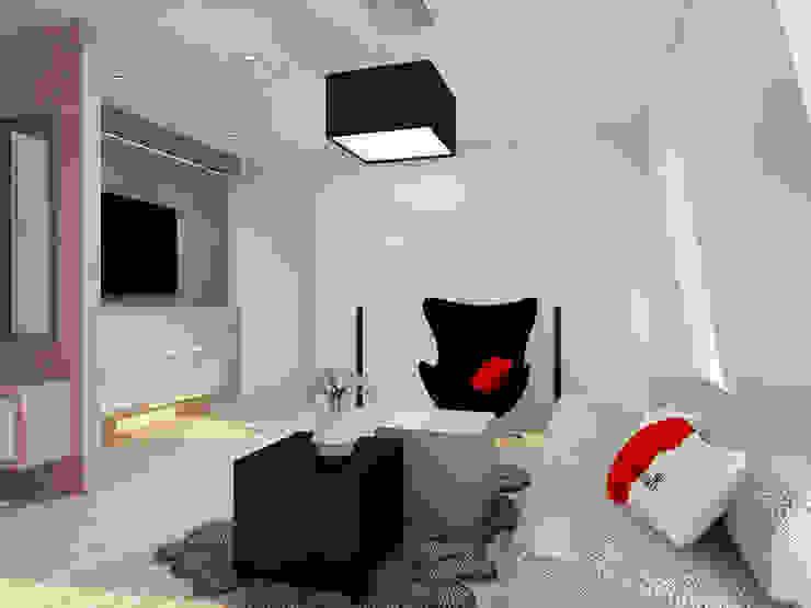 Projekt wnętrza na poddaszu - Połczyn Zdrój Nowoczesny salon od Kameleon - Kreatywne Studio Projektowania Wnętrz Nowoczesny
