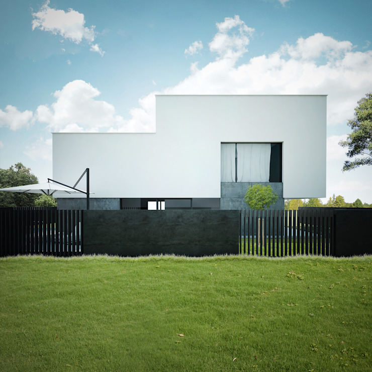 DOM Z DWUSPADOWYM DACHEM: styl , w kategorii Domy zaprojektowany przez 90 stopni,Minimalistyczny