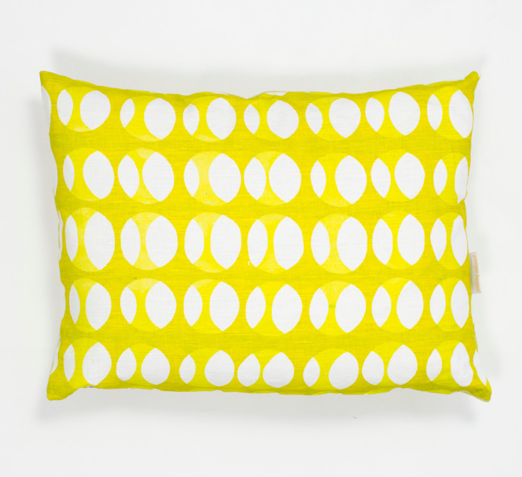 Offset print cushion in Mustard and Lime: modern  by Georgia Bosson, Modern