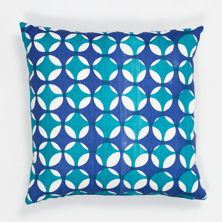 Crosses cushion in Peacock and Moroccan blue: scandinavian  by Georgia Bosson, Scandinavian