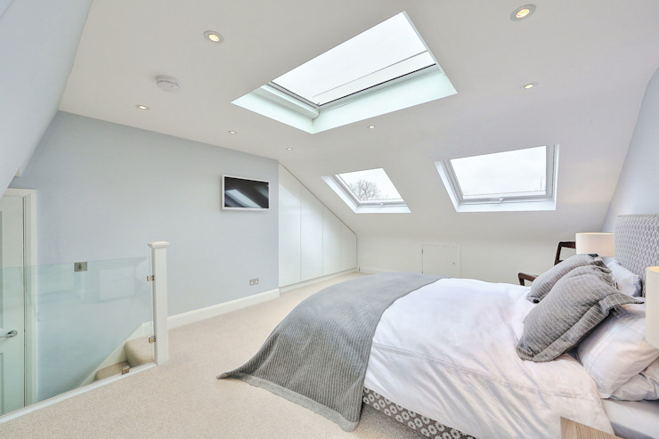 l-shaped loft conversion wimbledon 모던스타일 침실 by homify 모던
