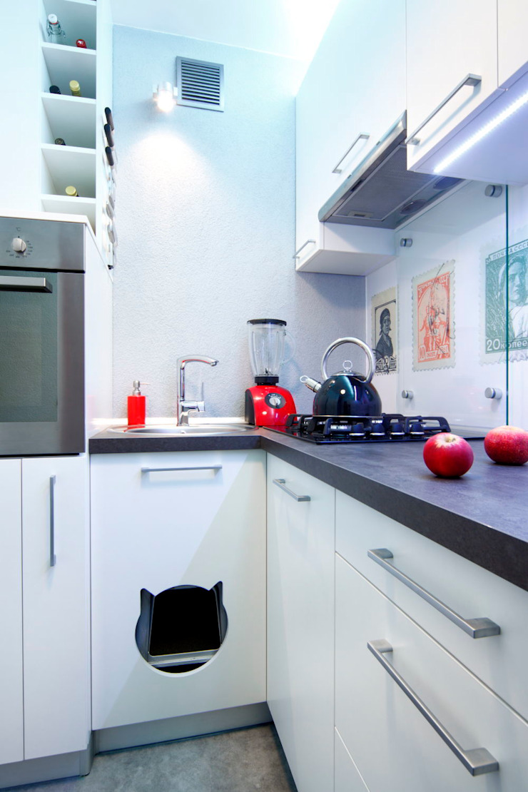 Regał w centrum uwagi – projekt kawalerki Industrialna kuchnia od Studio Projektowe RoRO interior + design Industrialny