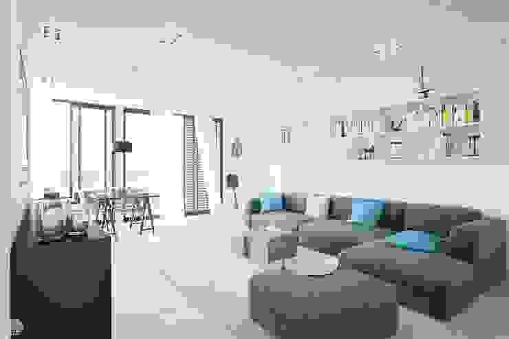 """Progetto tridimensionale per la realizzazione di una piccola residenza sul mare utilizzando la casa modulare """"CUBICCO"""" di Eleonora Frosini Minimalista"""