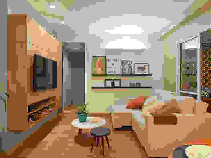 غرفة المعيشة تنفيذ Isabela Bethônico Arquitetura,