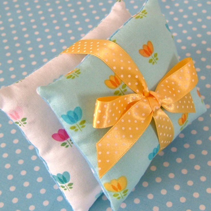 Floral Mini Lavender Pillows in Pastel Blues de Court & Spark Rural
