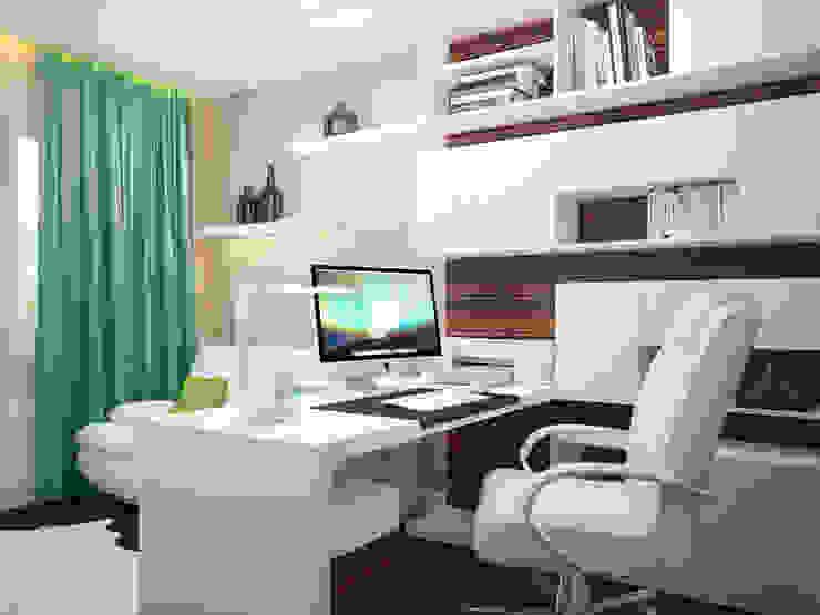 Проект квартиры в центре г. Владивостока Рабочий кабинет в эклектичном стиле от LD design Эклектичный