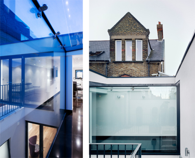 Hertford Road - exterior and interior glass walkway Modern windows & doors by Syte Architects Modern