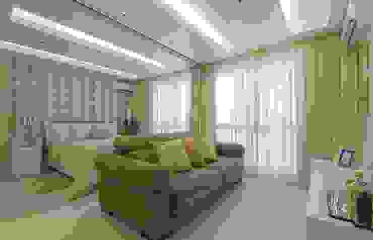 Integração Quarto Casal e Sala de Estar Salas de estar modernas por fpr Studio Moderno