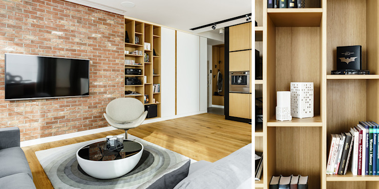 Mieszkanie prywatne 3 pokoje - Apartamenty na Polanie - Ekolan - Gdynia Karwiny Nowoczesny salon od Anna Maria Sokołowska Architektura Wnętrz Nowoczesny