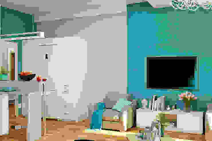 Морской стиль для гостиной и кухни Гостиная в стиле модерн от Студия дизайна Interior Design IDEAS Модерн