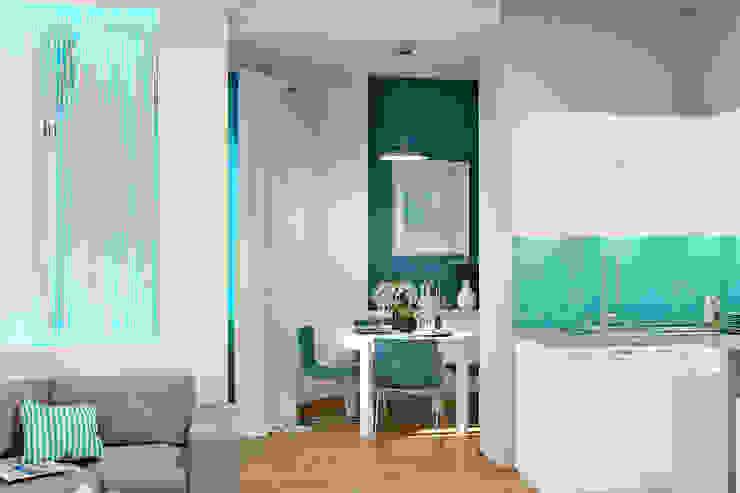 Морской стиль для гостиной и кухни Столовая комната в стиле модерн от Студия дизайна Interior Design IDEAS Модерн