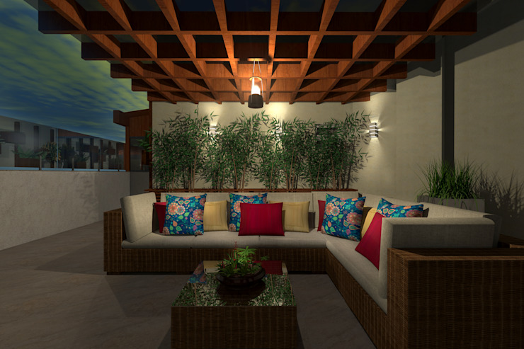 Tropical style balcony, veranda & terrace by Konverto Interiores + Arquitetura Tropical