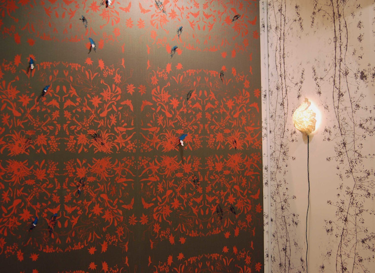 Hand printed Fabric wall surface and Laser-cut details : asian  by Tactile Wonderland, Asian