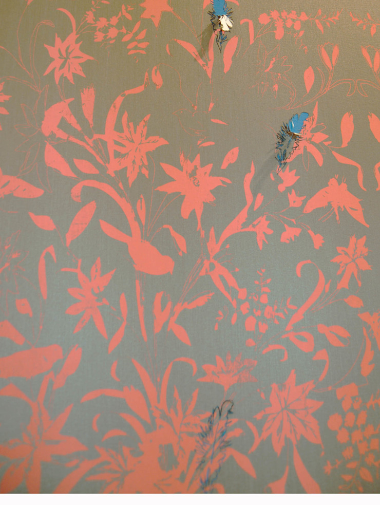 Hand printed fabric wallpaper and laser cut detail: asian  by Tactile Wonderland, Asian