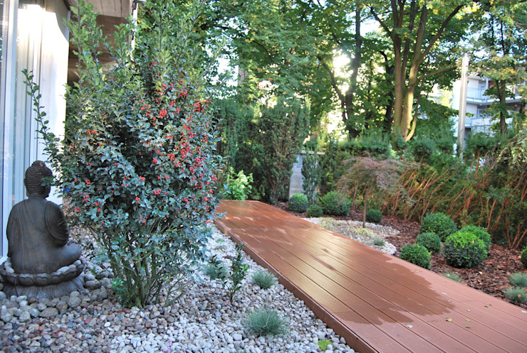Ogród minimalistyczny ze strefą do medytacji Ogrody Przyszłości Minimalistyczny ogród