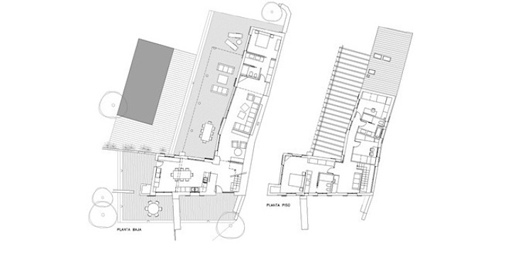 Ground floor and first floor plans by FG ARQUITECTES