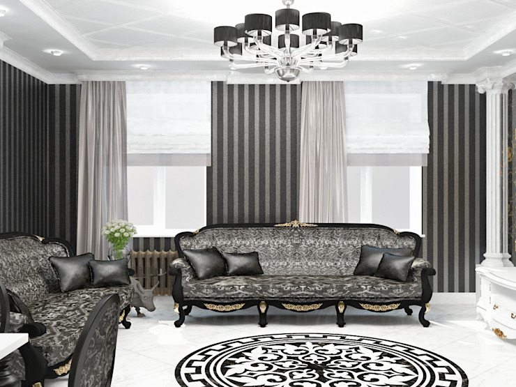 Гостиная черно-белое ар-деко Гостиные в эклектичном стиле от Kalista Эклектичный