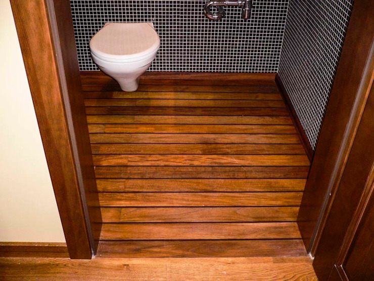Deski podłogowe w łazience – różne realizacje Klasyczne ściany i podłogi od Profi Parkiet II Klasyczny