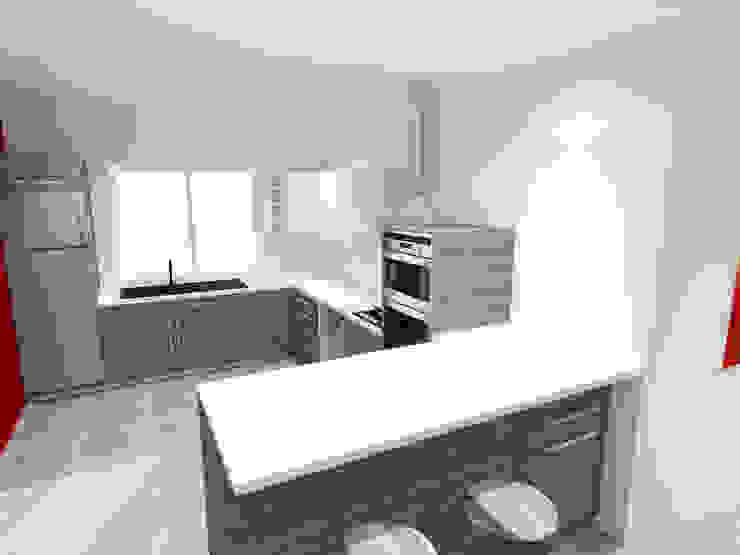 Vue 3D cuisine ouverte par Pauline VIDAL - Architecte d'Intérieur CFAI