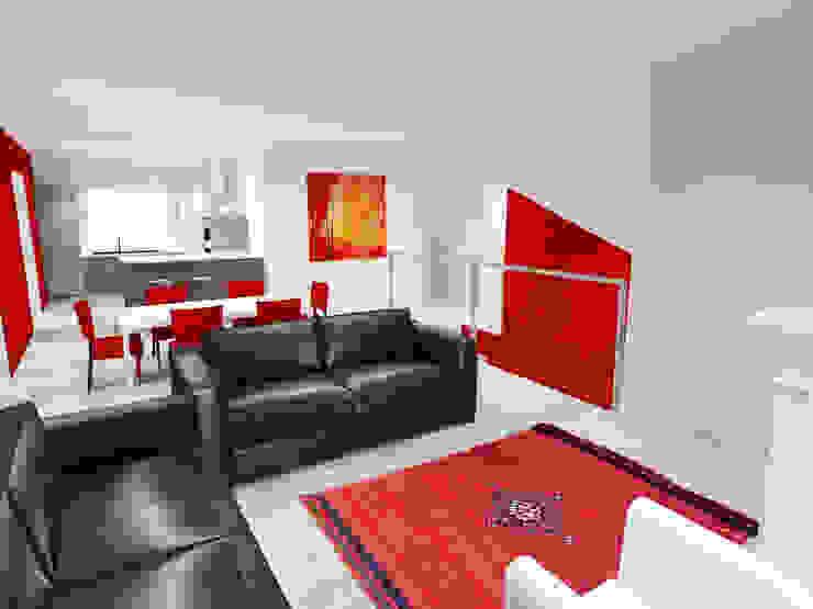 Vue 3D cuisine ouverte sur séjour par Pauline VIDAL - Architecte d'Intérieur CFAI