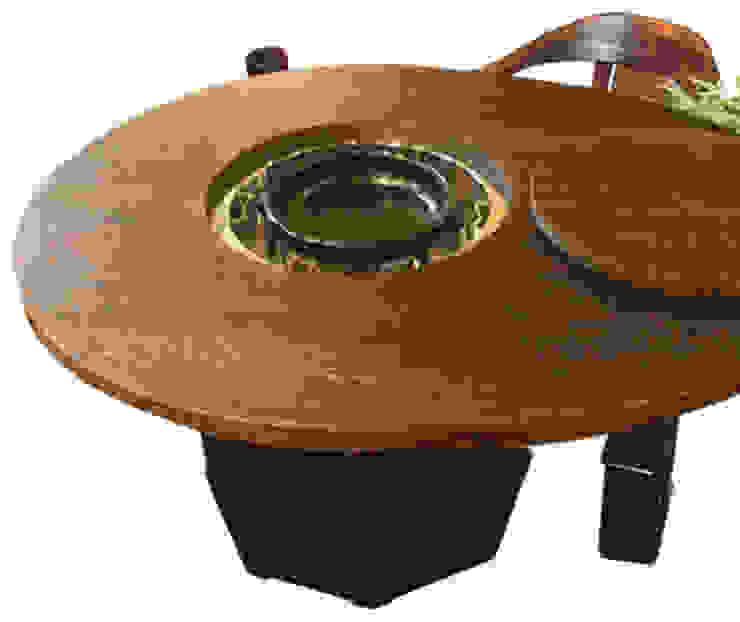 焼桐卵形囲炉裏テーブル: 桐里工房が手掛けたアジア人です。,和風