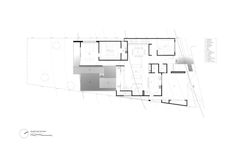 Planta de acceso de Diez y Nueve Grados Arquitectos Moderno