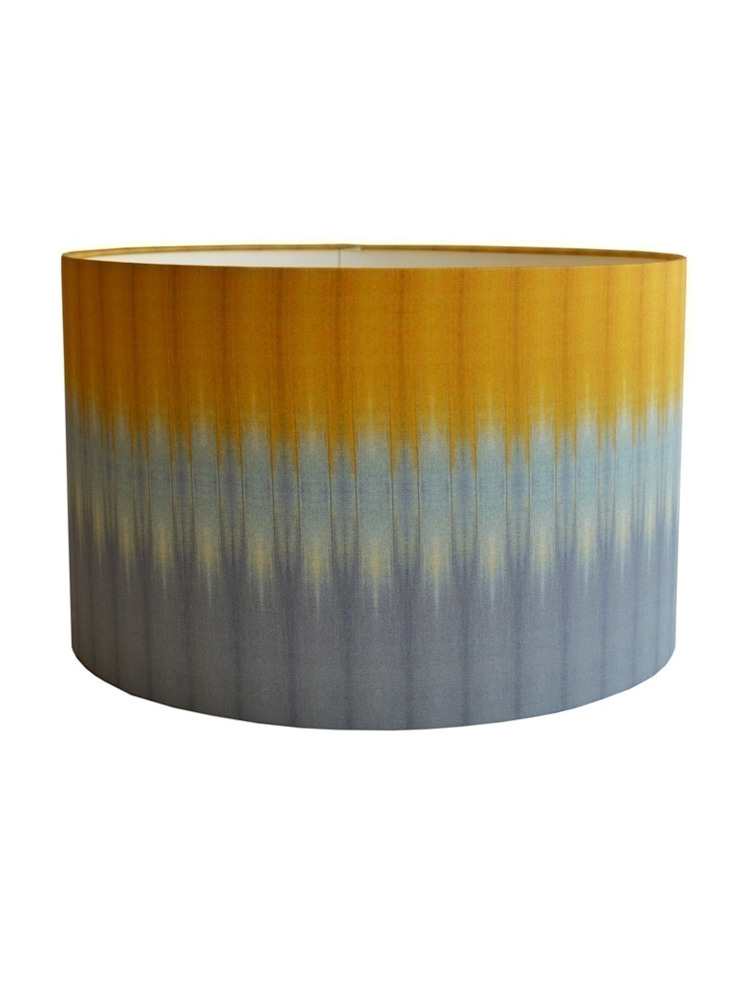 Ikat Lampshade - Grey/Ochre: eclectic  by Luku Home, Eclectic