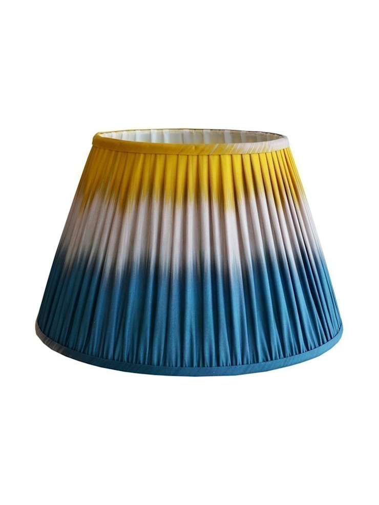 Wave Ikat Lampshade - Teal/Yellow: eclectic  by Luku Home, Eclectic