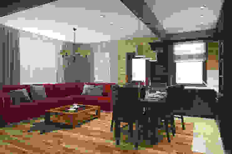 Гостиная в стиле шале 1 этаж Гостиная в стиле кантри от Универсальная история Кантри