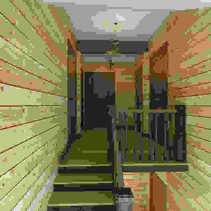 лестница и холл 2 этажа Коридор, прихожая и лестница в стиле кантри от Универсальная история Кантри