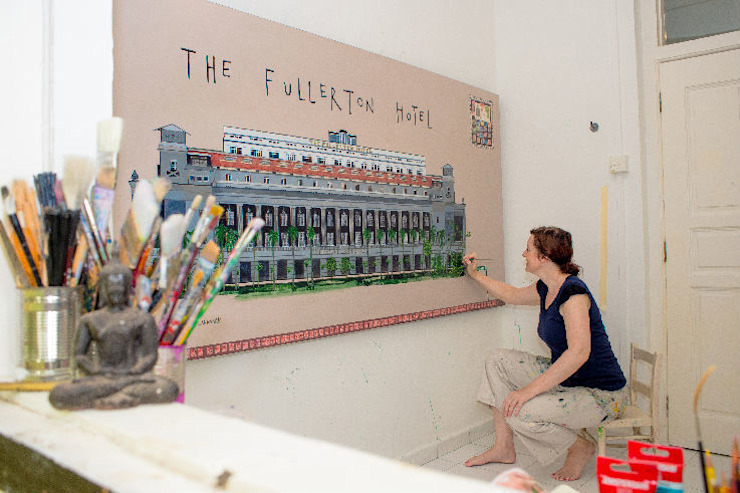 The Fullerton Hotel: modern  by Clare Haxby Art Studio,Modern