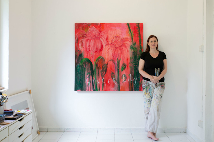 My Beautiful Ginger Lily: tropical  by Clare Haxby Art Studio,Tropical