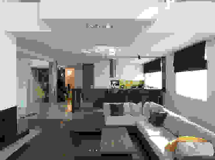 Salon z kuchnią Minimalistyczny salon od living box Minimalistyczny