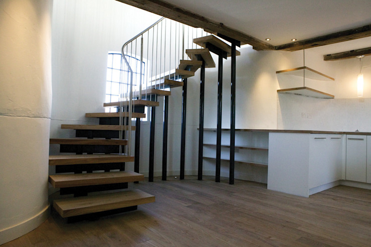 Albion Mill - Staircase Modern corridor, hallway & stairs by Syte Architects Modern