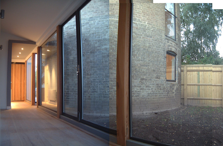 Albion Mill - View from extension of mill Modern corridor, hallway & stairs by Syte Architects Modern