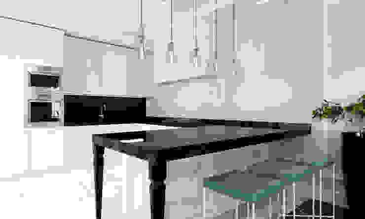 Kuchnia ze stylizowanym stołem barowym Klasyczna kuchnia od living box Klasyczny