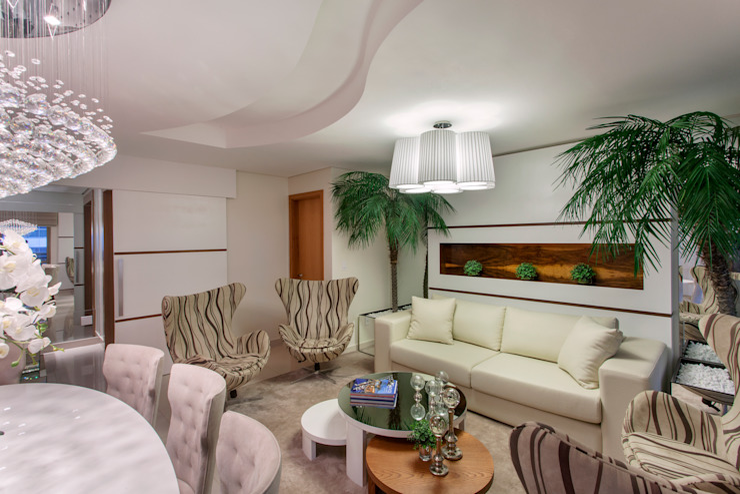 Apartamento Ribeirão Preto Salas de estar modernas por Designer de Interiores e Paisagista Iara Kílaris Moderno